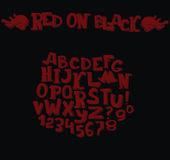 Stylish dark alphabet in dark red on black background. Hand drawn 3d letters sequence from A to Z. Group of dimensional characters. In different perspective stock illustration