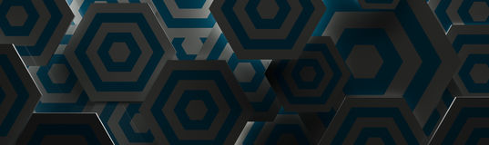 Stylish Dark Blue and White Hexangon Background (Website Head, 3D Illustration) Stock Photo