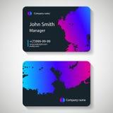 Stylish dark business card template. Vector illustration. royalty free illustration
