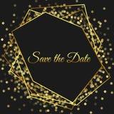 Stylish dark geometric design frame. Golden line borders. Modern invitation. Art deco square card. Luxury and chic black ba. Ckground. Diamond shape. All royalty free illustration