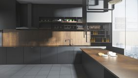 Stylish dark kitchen interior. Stylish dark wooden kitchen studio interor with city view and sunlight. 3D Rendering Stock Photo