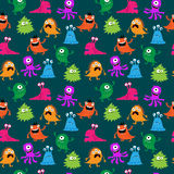 Stylish decorative seamless background with different monsters Royalty Free Stock Photos