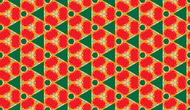 Stylish decorative seamless geometric pattern with different shapes of green, red and orange shades. Abstract stylish decorative seamless geometric pattern with Stock Image