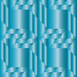 Stylish decorative seamless pattern with different geometrical shapes of blue metallic gradient Royalty Free Stock Image