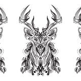 Black and white card with stylized deer. Stylish Deer background, eps 10 Stock Image