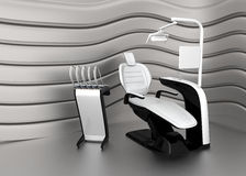 Stylish dentist chair on a strage with metallic curved  background Stock Photo