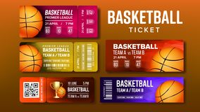 Stylish Design Basketball Game Tickets Set Vector. Collection Of Tickets Invitation For Visit International Tournament. Playing Ball Information Of Gate, Raw royalty free illustration