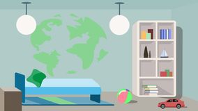 Stylish design of a children`s bedroom royalty free illustration