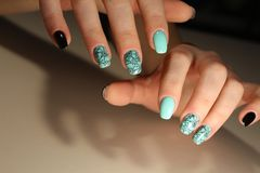 Stylish design of manicure Stock Images
