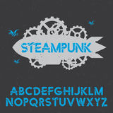 Stylish Design Steampunk Poster. With boat in the centre and alphabet vector illustration Stock Photos