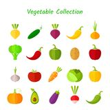 Stylish design vegetable isolated icon set. Vector illustration with symbol of onion, eggplant, cabbage, pepper and other vegetables in fresh colors for Stock Photos