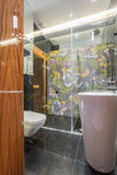 Stylish designed bathroom. With wooden door and colorful tiles royalty free stock photography