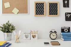 Stylish desk with designed equipment. Close-up of stylish desk with designed equipment Stock Photo