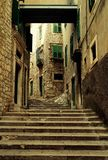 Stylish destroyed stairs in the Croatian Šibenik royalty free stock images