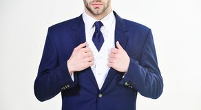 Stylish details business appearance. Business style dress code. Male hands adjusting business suit close up. Confident stock photos