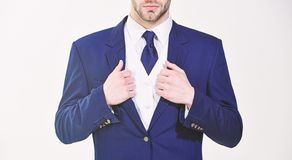 Stylish details business appearance. Business style dress code. Male hands adjusting business suit close up. Confident stock photography