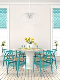 Stylish dining room with blue furniture Stock Images