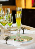 Stylish dining table arrangement close up Stock Photo