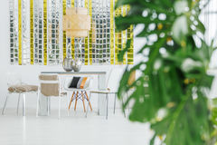 Stylish dining table and chairs Stock Photo