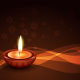Stylish diwali diya background. Vector stylish diwali diya on a wave background