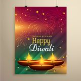 Stylish diwali festival flyer template with three realistic diya. Lamps with fireworks Stock Photography