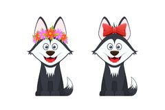 Stylish dogs with flower wreath on head and red bow. Beautiful stylish dogs with emotions of a smile, with a flower wreath on their heads and a beautiful red Royalty Free Stock Image