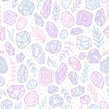 Stylish doodle gem crystals. Vector hand drawn seamless pattern royalty free illustration