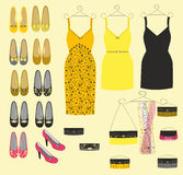 Stylish dress shoes and handbags for girls Royalty Free Stock Image