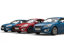 Stylish eco friendly modern cars - red and blue - front view Stock Photos