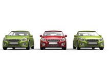 Stylish eco friendly modern cars - red and green - front view Stock Images