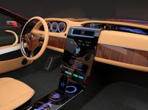 Stylish electric car interior with luxury wood pattern decoration. User can update vehicle software just touch car's center console screen. Concept for new royalty free stock photos