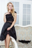 Stylish elegant blonde woman in beauty rich Stock Photography