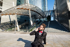 Stylish elegant dreadlocks businessman binoculars Stock Image