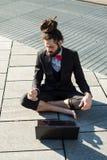 Stylish elegant dreadlocks businessman Stock Images