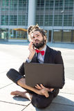 Stylish elegant dreadlocks businessman Royalty Free Stock Photography