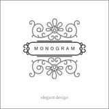 Stylish elegant monogram, mono line art design Stock Image