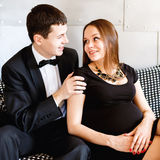 Stylish elegant young couple waiting a baby Royalty Free Stock Photo