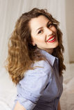 Stylish emotional girl with red lips and curly hair Royalty Free Stock Images