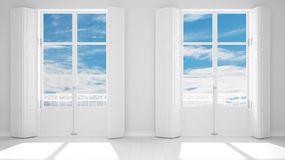 Stylish empty room with panoramic windows close-up, classic shutters, classic balcony. Cloudy blue sky. White background with copy. Space, interior design royalty free stock photos