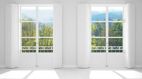 Stylish empty room with panoramic windows close-up, classic shutters, classic balcony. Green park, meadow with trees. White. Background with copy space royalty free stock photography