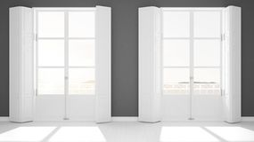 Stylish empty room with panoramic windows close-up, classic shutters, classic balcony. Sea landscape, granite rocks. White. Background with copy space, interior royalty free stock photos