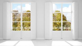 Stylish empty room with panoramic windows close-up, classic shutters, classic balcony. Green park, meadow with trees. White. Background with copy space royalty free illustration