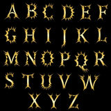 Stylish English alphabet with an explosive effect. Royalty Free Stock Photo