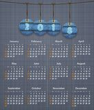Stylish English calendar for 2018 on linen texture with jeans ta Stock Photo