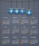 Stylish English calendar for 2015 on linen texture with jeans ta. Gs hung on thread. Vector illustration Vector Illustration