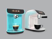 Stylish espresso coffee machines with touch screen Stock Photography