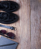 Stylish essentials. On the wooden background Stock Photos