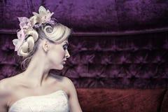 Stylish evening hairstyle Stock Photo