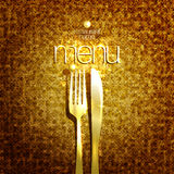 Stylish expensive restaurant menu card design mock up with golden fork and knife. Against gold sparkle backdrop Stock Image