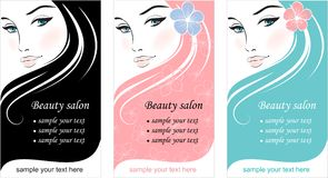 Stylish face of woman. Template design card Royalty Free Stock Images
